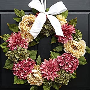 Large Summer Spring Wreath for Front Door Decor; Faux Peonies, Dahlias and Hydrangeas; Rose Pink, Cream & Green; 24 Inch 35