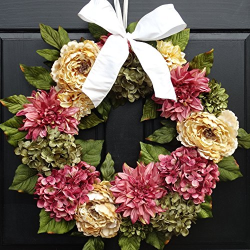 Large Summer Spring Wreath for Front Door Decor; Faux Peonies, Dahlias and Hydrangeas; Rose Pink, Cream & Green; 24 Inch ()