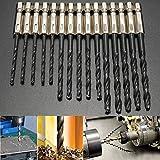 Mohoo 15pcs 3/4/5mm HSS 1/4 Inch Hex Shank Twist Drill Bit for Wood Plastic Metal