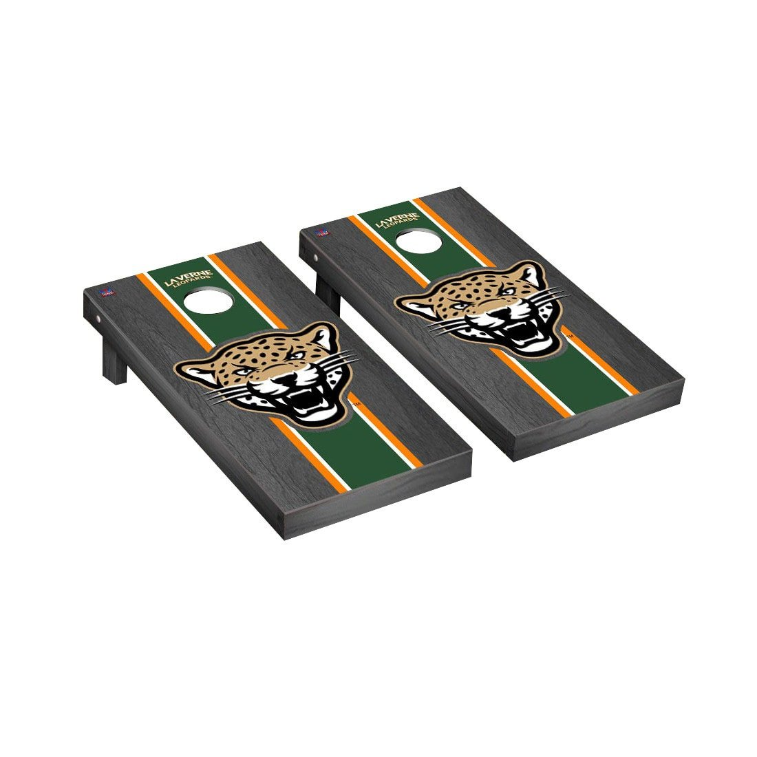 Victory Tailgate Laverne Leopards Regulation Cornhole Game Set Onyx Stained Stripe Version