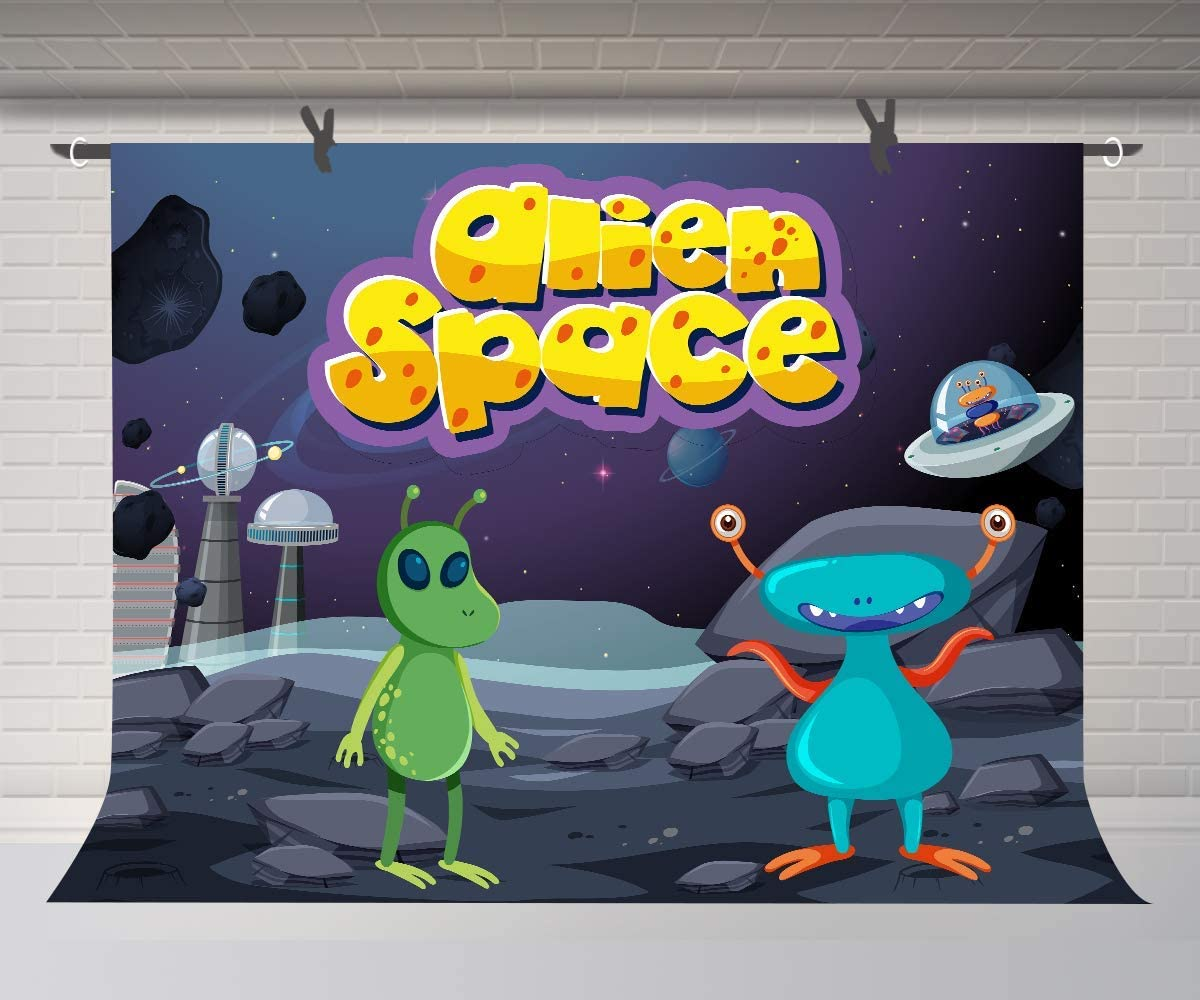 10x8ft Cartoon Background Space Alien Photography Backdrop Photo Props Gifts for Children and Newborn Birthday DSFU091
