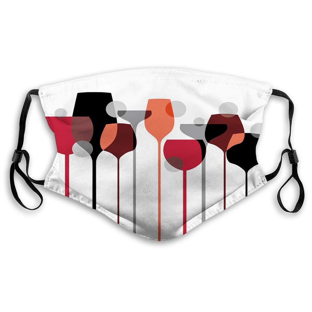 Comfortable Printed mask,Wine, Abstract Wine Glasses Silhouettes with Dots Alcohol Drink Modern, Red Grey Black,Windproof Facial decorations for Adults Size:M