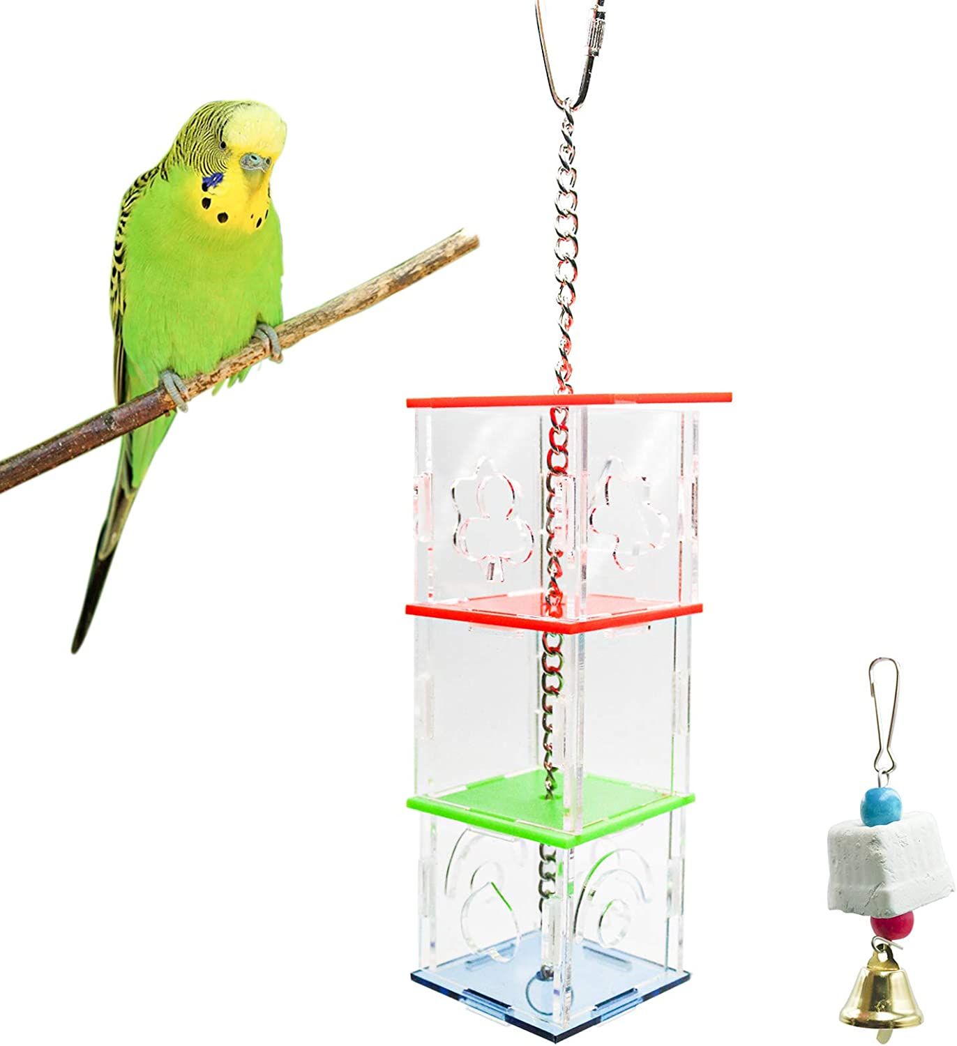 S-Mechanic Parrot Toy Creative Foraging Toy for African Grey Conure Cockatiel Small and Medium Bird Toy Acrylic Food Holder