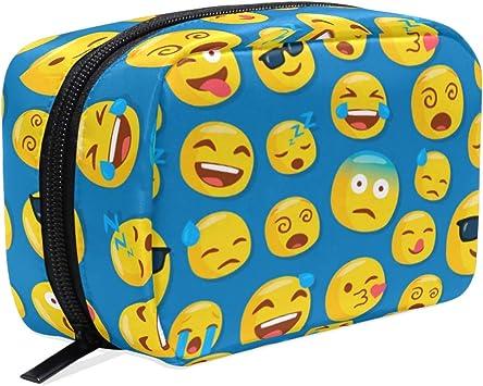 Estuche de cosméticos con diseño de Emojis, Color Azul, para Guardar cosméticos, cosméticos, lápices, artículos de tocador de Viaje, Bolsa organizadora para Mujeres y niñas al Aire Libre: Amazon.es: Equipaje