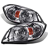 Headlight Assembly for 2005-2010 Chevy Cobalt 05-06 Pursuit 07-09 Pontiac G5 Replacement Headlamp Driving Light Chromed Housing Amber Reflector Clear Lens,2 Year Warranty (Pair)