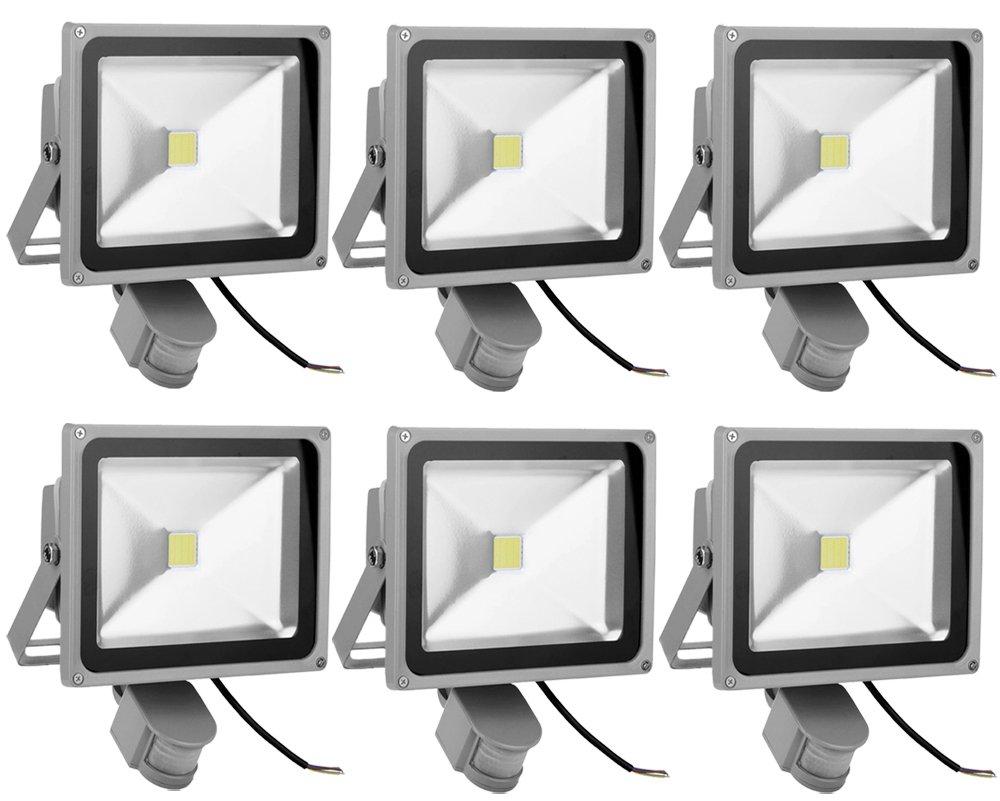 Leetop 6X Faro LED da 30W a Luce Bianca Freddo con Sensore di Movimento, da Esterni, Colore Grigio, con Staffa di Fissaggio, Waterproof IP65 [Classe di efficienza energetica A+++]
