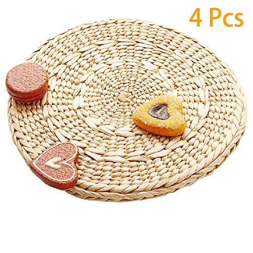 (Zenfen 4 pcs Weave Round Placemats Braided Rattan Tablemats Coasters for Durable Pot holder for Table,Coasters, Pots, Pans & Teapots)