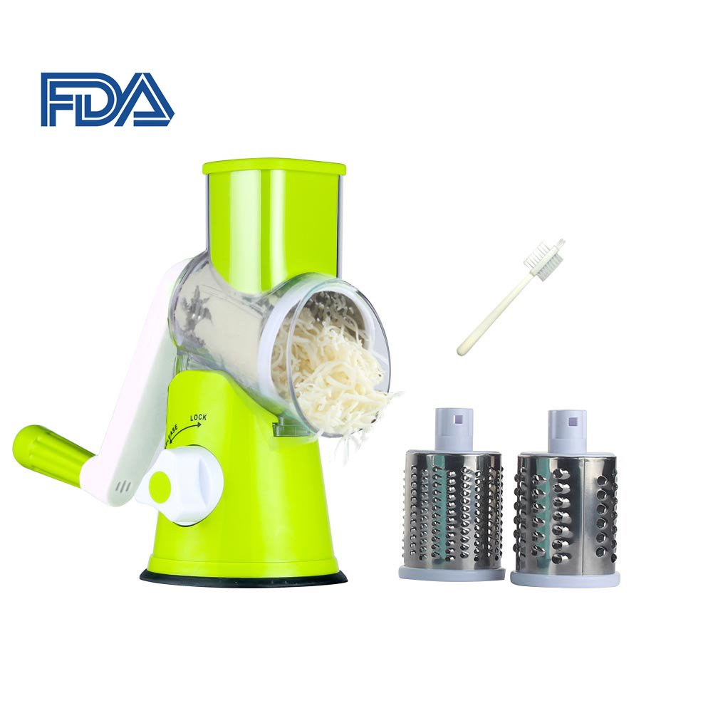 Rotary Cheese Grater Round Mandoline Slicer with 3 Interchangeable Blades, Manual Vegetable Food Shredder with Strong Suction Base by Valuetools (Green)
