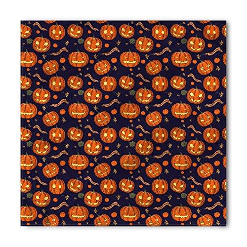 Lunarable Unisex Bandana, Halloween Different Pumpkin Faces, Orange Indigo -