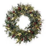 30 in. Artificial Pre Lit LED Decorated Christmas Wreath-Rustic Pine and Berry decorations-50 super mini warm clear colored lights with timer battery pack for indoor and outdoor use