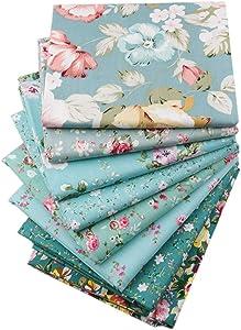 Green Floral Fat Quarters Fabric Bundles,Precut Quilt Sewing Quilting Fabric,18