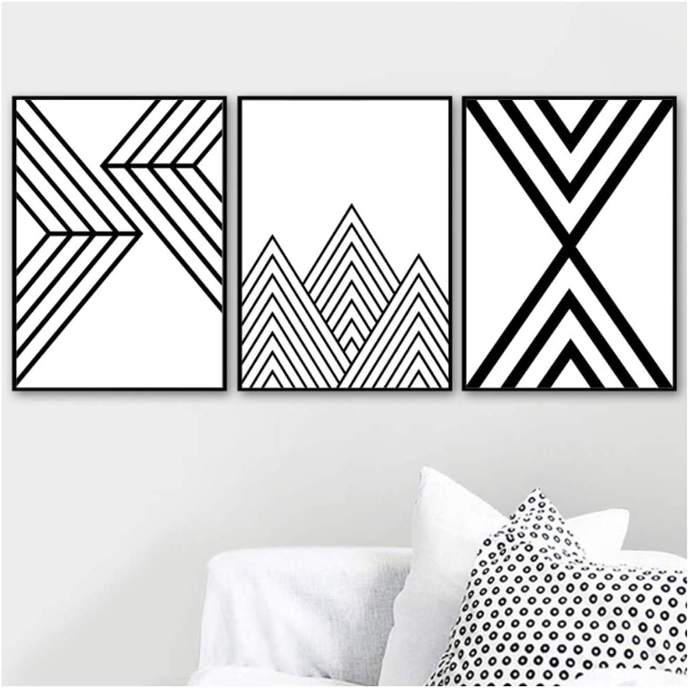 Amazon Com Wttfbh Canvas Wall Art Black White Geometric Lines Mountain Painting Posters And Prints Pictures For Living Room Home Decor Unframed 3 Piece Set 5070cm