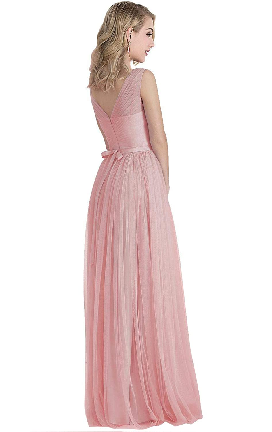 Womens A-line V-Neck Pleated Tulle Bridesmaid Dress Long Evening Formal Party Gown with Belt