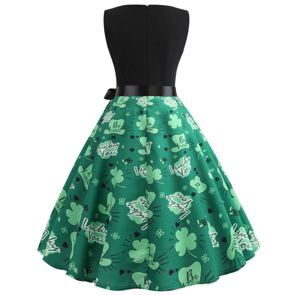 Coconano St. Patrick s Day Women s Clover Sleeveless Evening Print Party  Prom Swing Dress  Amazon.co.uk  Clothing c19166c6c824