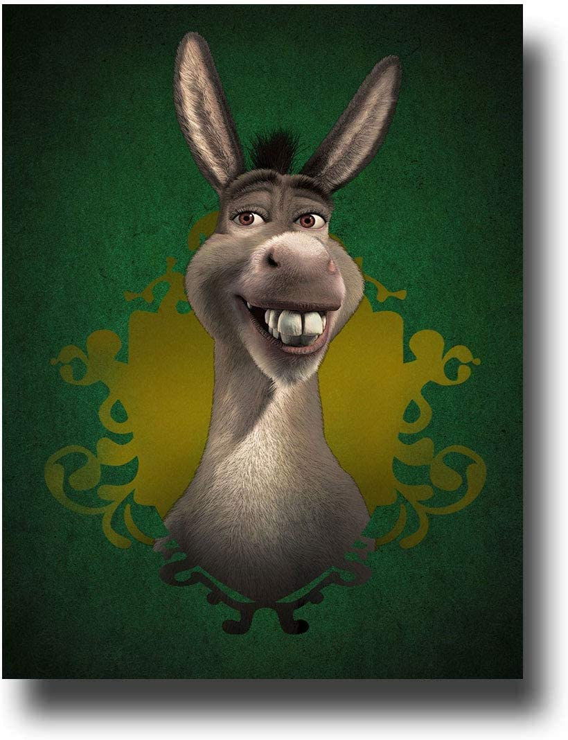 Shrek The Halls Donkey Wall Decor Poster Oil Paintings Prints for Home on Wall 12 x 18 Inch
