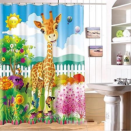 GYMNLJY Cortina de ducha Mampara de baño de cortina de ducha infantil jirafa impermeable 3D , 150*180cm: Amazon.es: Hogar