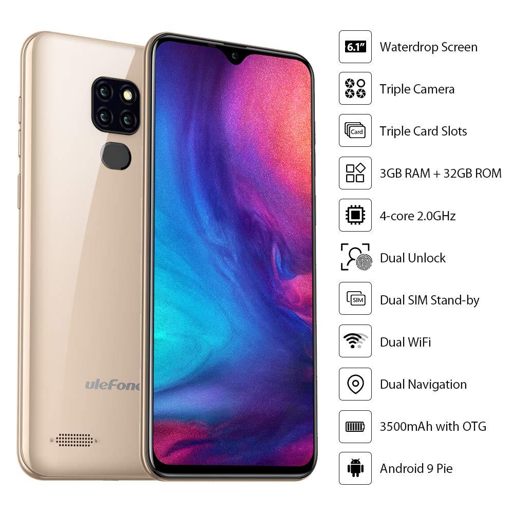 Fingerprint Unlock Ulefone Note 7P UK Version 2019 4G Mobile Phone Android 9 32GB ROM Black 6.1 Inch Dewdrop 3GB RAM SIM Free Smartphones Unlocked Triple Rear Camera Dual SIM Android Phone