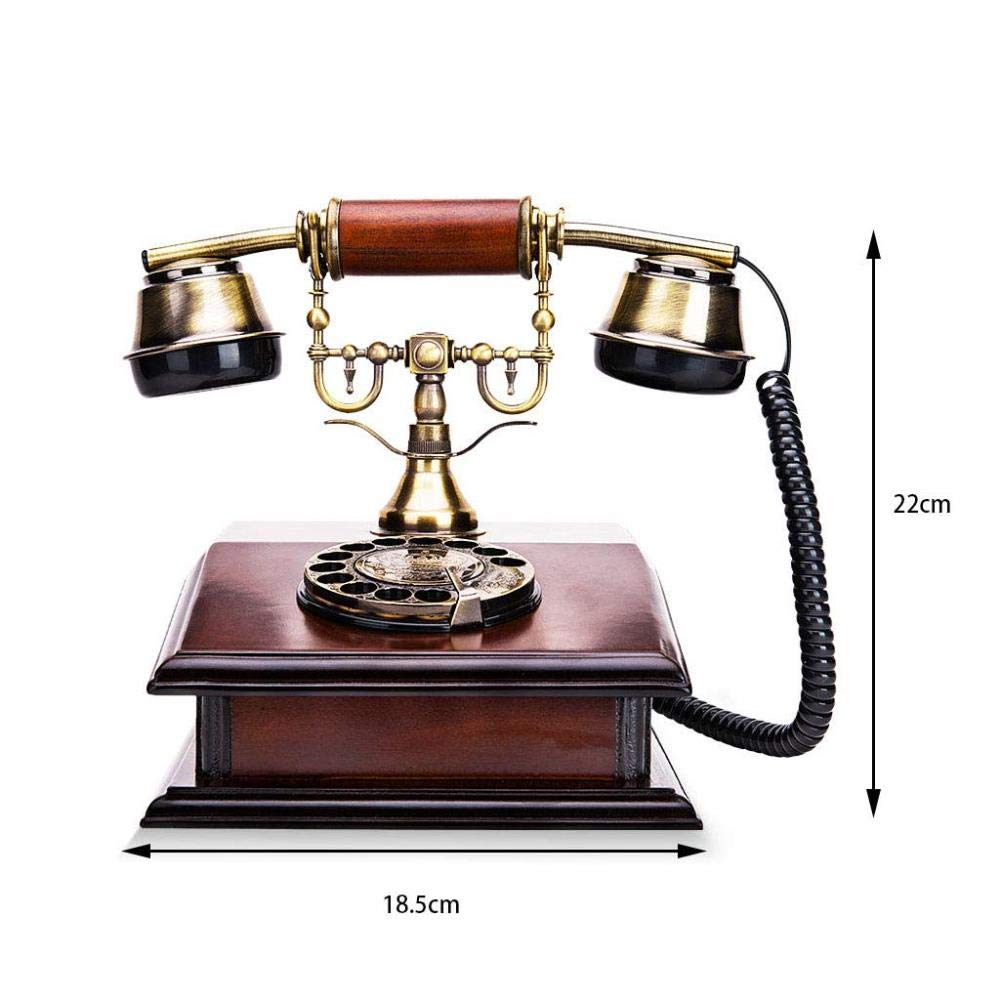 Metal Rotary Dial Wired Decorative Phone FU TEL Telephone- Retro Landline Suitable for Study Office Telephones