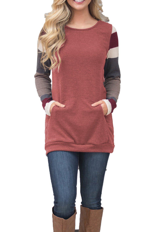 BLENCOT Women's Color Block Long Sleeve Tunic Sweatshirt Tops with Kangaroo Pocket-Red X-Large