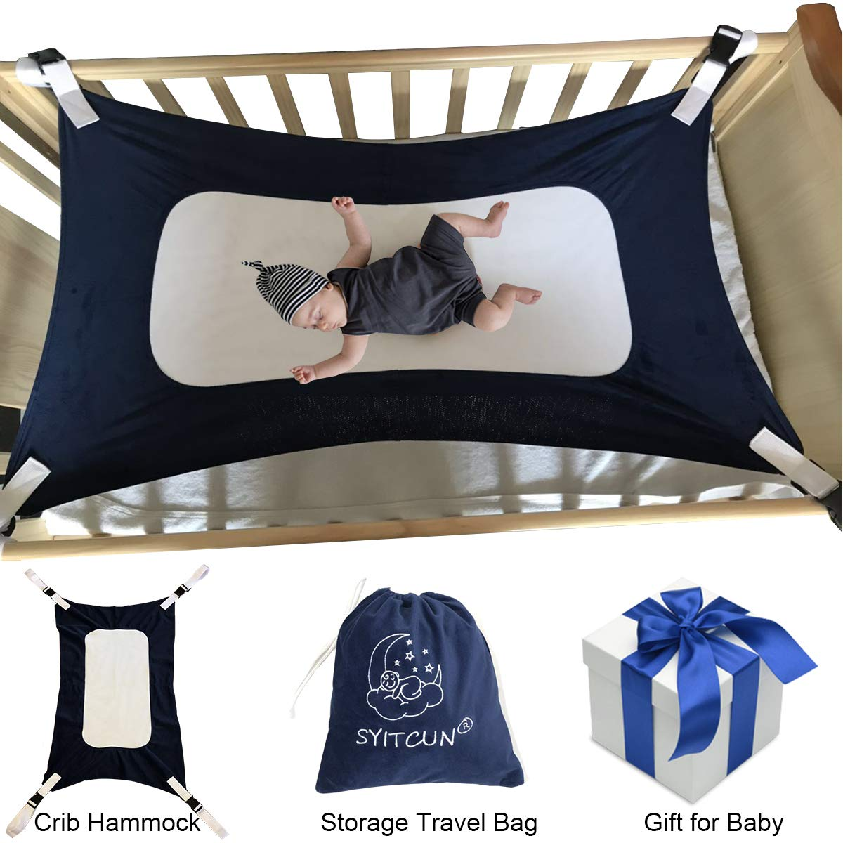 Baby Hammock for Crib Mimics Womb Newborn Bassinet Strong Material Upgraded Safety Measures Infant Nursery Travel Bed Reduce Environmental Risk Associated with Early Infancy Baby Shower Gifts