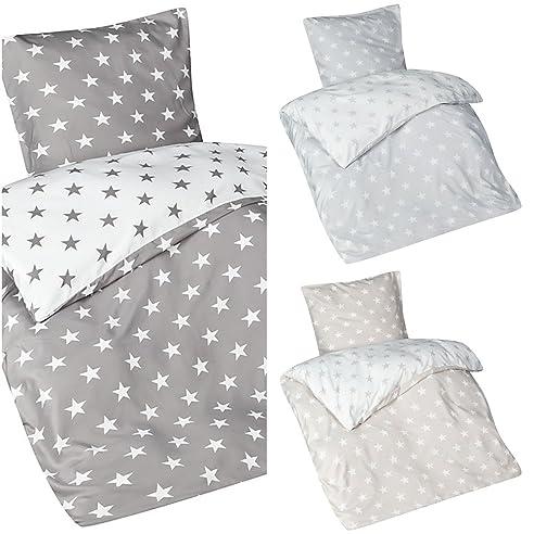 Aminata U2013 Bettwäsche 135x200 Cm Mikrofaser + Reißverschluss Sterne Grau  Anthrazit Weiß Bettbezug Sternchen Stars Wendebettwäsche