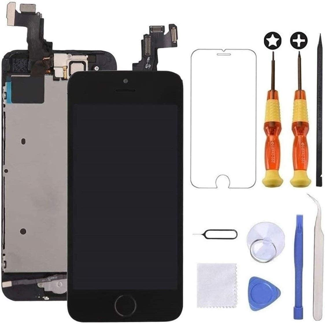 Brinonac for iPhone 5s/Se Screen Replacement Black Touch Display LCD Digitizer Full Assembly with Front Camera,Proximity Sensor,Ear Speaker and Home Button Including Repair Tool and Screen Protector