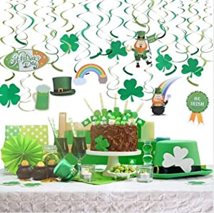 30 Pcs St. Patrick's Day Party Decorations Hanging Swirls-Shamrock Clover Leprechaun Horseshoe Ceiling Foil for Lucky Day Home Office Decor Saint Patrick's Day Irish Hanging Decorations Supplies