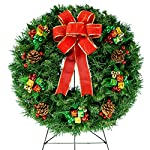 Sympathy-Silks-Christmas-Memorial-Wreath-Decoration-Holiday-Colored-Ornaments-with-Hand-Tied-Red-Burlap-Bow-on-30-Inch-Easel-Artificial-Greenery-Wreath-Fade-Resistant