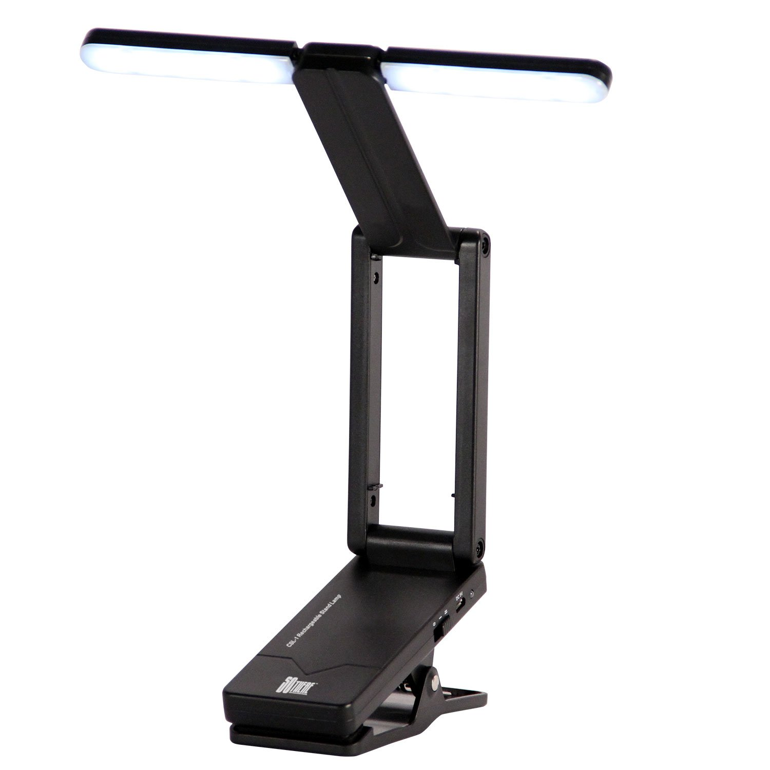 so there rechargeable clip on led book light folding music stand