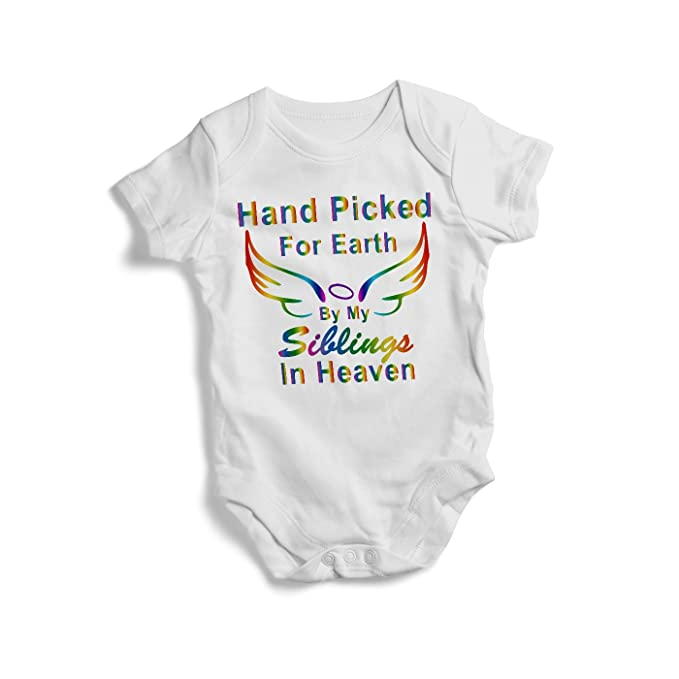 6396a3bdfa69 Hand Picked For Earth By My Siblings In Heaven colourful baby onesie  bodysuit baby onesie for