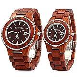 Bewell ZS-100B Couple Wooden Quartz Watch Date Display Women Men Gift Watches