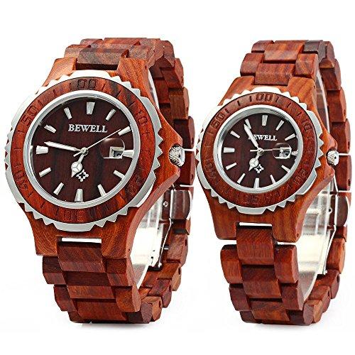 Bewell ZS-100B Couple Wooden Quartz Watch Date Display Women Men Gift Watches by BEWELL