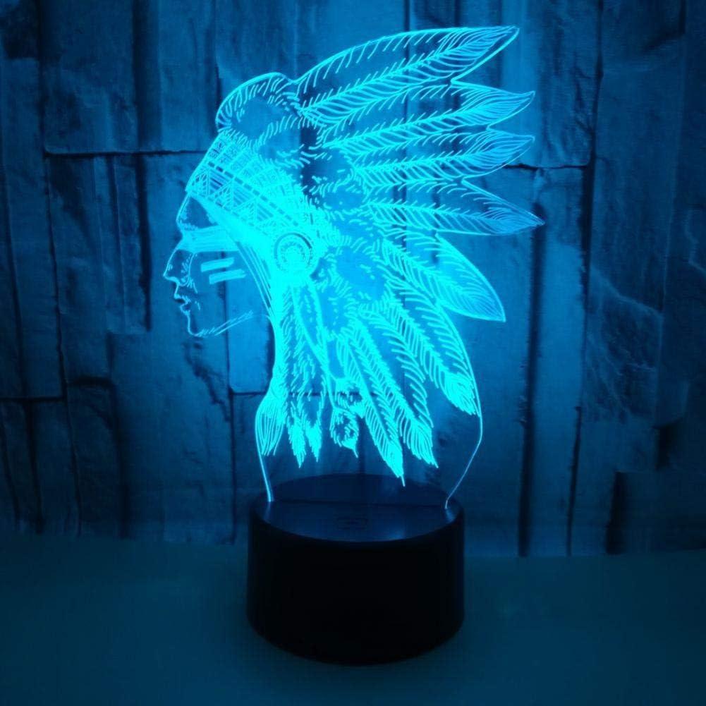 Yujzpl 3D Illusion Lamp Led Night Light, USB Powered 7 colores Intermitente Touch Switch Iluminación para niños Regalo de Navidad[Clase de energía A +++]-Jefe de la india