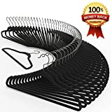 Premium Quality Velvet Hanger (Set of 50) - Ultra -Thin No Slip Velvet Suit Hangers - Swivel Hooks, STRONGER Than Standard Velvet Hangers - Space Saving Clothes Hangers - Black