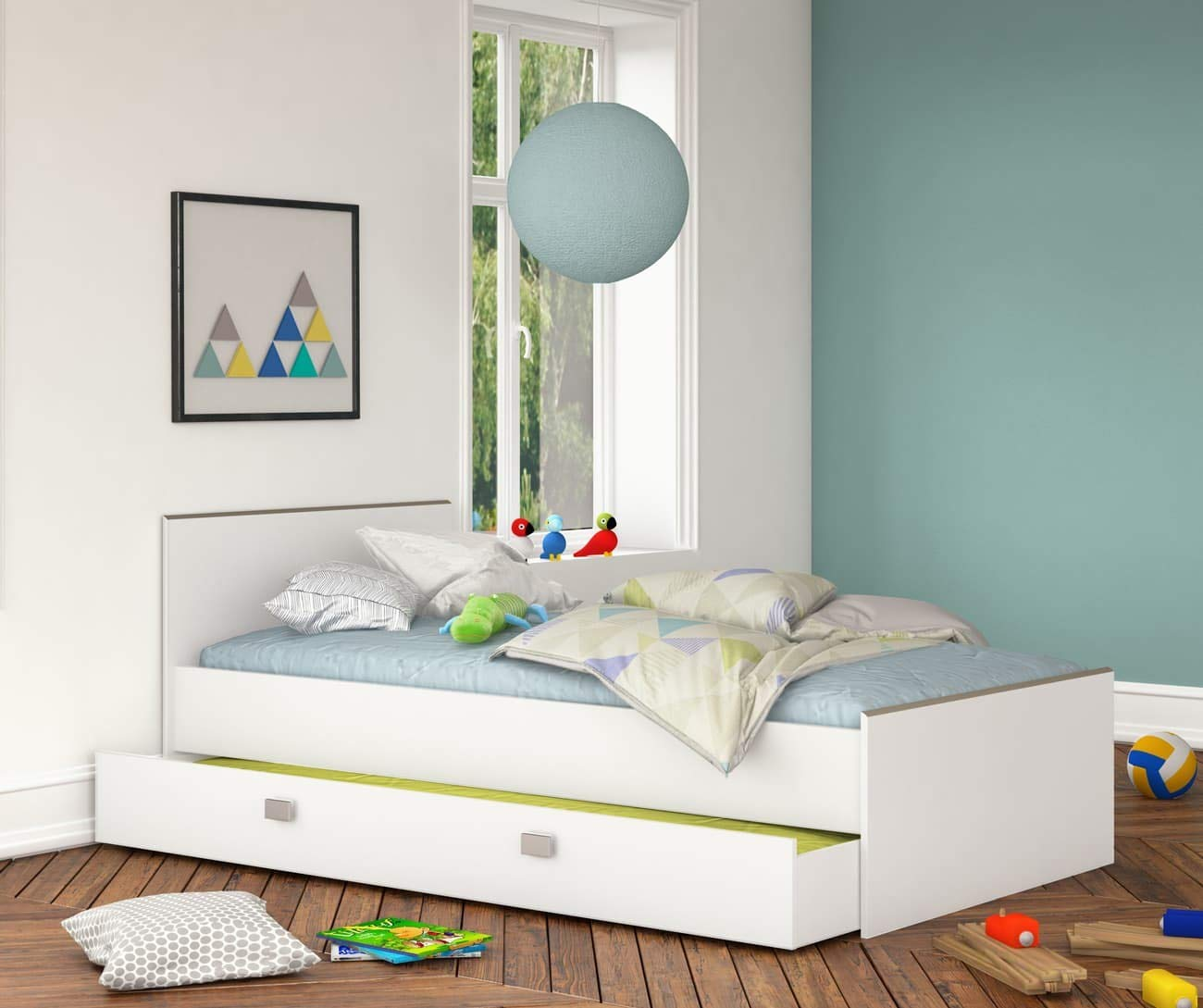 Bilira/_Kids Jugendbett mit Bettkasten Funktionsbett Bettgestell Kinderbett G/ästebett 90x200 Kinderbett Liege Wei/ß