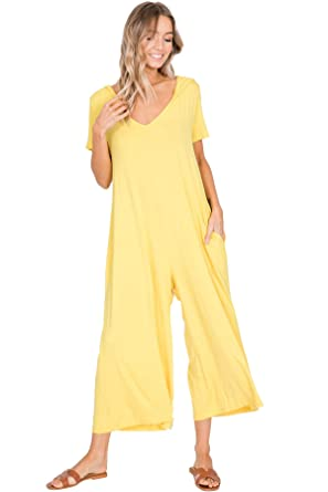 eb45ba661c286 Annabelle Women's Knit Jumpsuit Featuring Palazzo Pants with Hood Bright  Yellow Small J8071