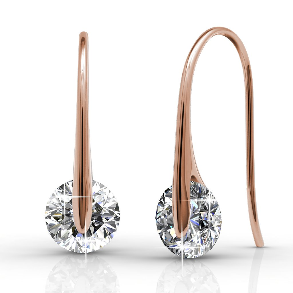 Cate & Chloe McKayla Wonderous 18k Rose Gold Drop Earrings with Swarovski Crytal, Women's Gold Plated Earrings, Floating Earrings for Women, Wedding Anniversary Special Occasion Jewelry MSRP - $126