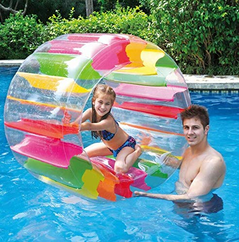 Inflatable Pool Water Wheel, Giant Colorful Roller Float Floating Valve Toy, 36