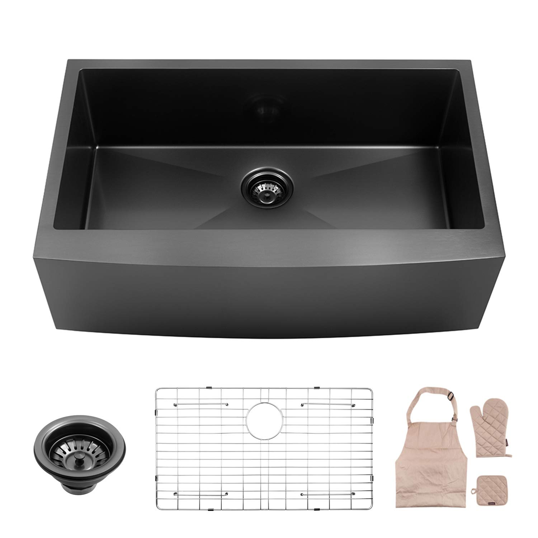 LORDEAR Black Farmhouse Sink 33 Inch Apron Single Bowl 16-gauge 10 Inch Deep Stainless Steel Kitchen Sink