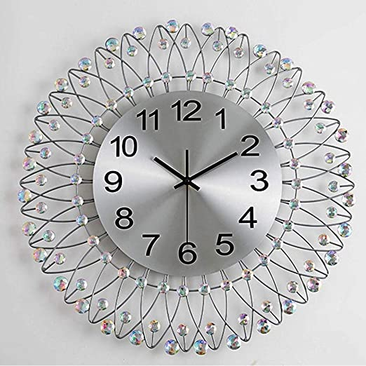 Silver Clear Diamante Crystal Modern Metal Wall Clock Round Home Office Decor
