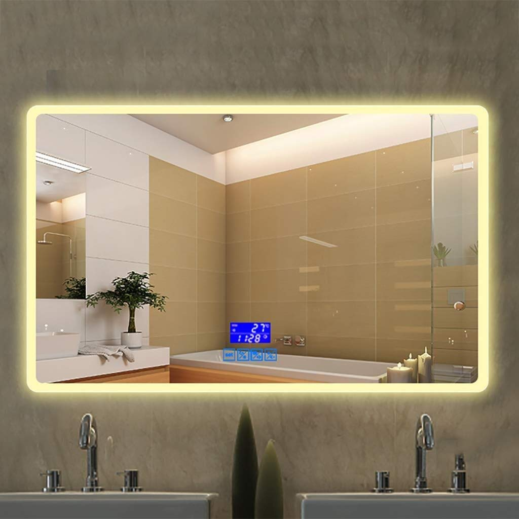 Beauty mirror LED Bathroom Mirror Wall Anti-fogging and Bluetooth Call Illuminated Bathroom Mirror with Touch Switch, 5MM Silver Mirror White Warm Light Rectangle Washroom Toilet Makeup Mirror Dressin by Makeup Mirrors