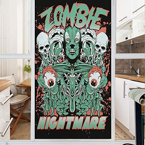 Decorative Window Film,No Glue Frosted Privacy Film,Stained Glass Door Film,Nightmare Retro with Skulls Ghost Characters Wild Illustration Decorative,for Home & Office,23.6In. by 47.2In Jade Green Sal
