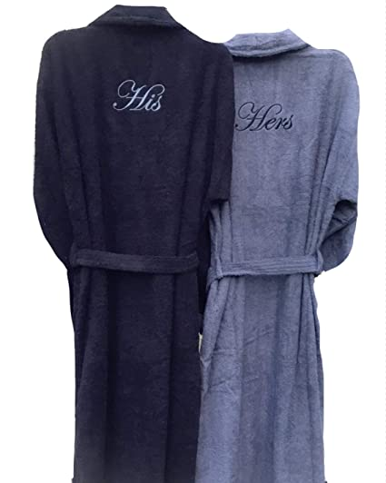 1992525627 Personalised Embroidered His   Hers Pair of Bathrobe Dressin Gown-Black and  Slate Grey  Amazon.co.uk  Kitchen   Home