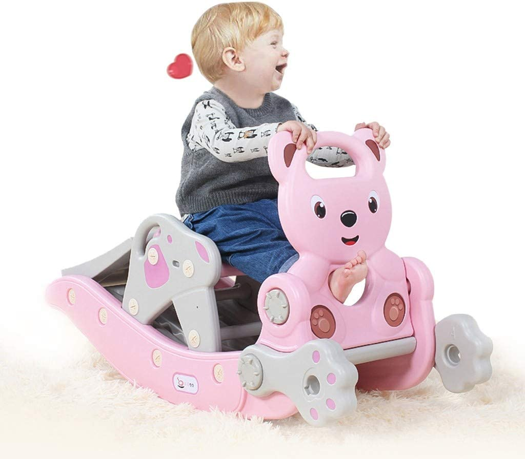 Pink 4-in-1 Child Climbing Slide and Rocking Horse Suit for Indoor and Backyard Baskets Toddler Toy Set Include Smooth Slide//Swing//Basketball Hoop//Ferrule for Ages 2-4 Years Boys /& Grils