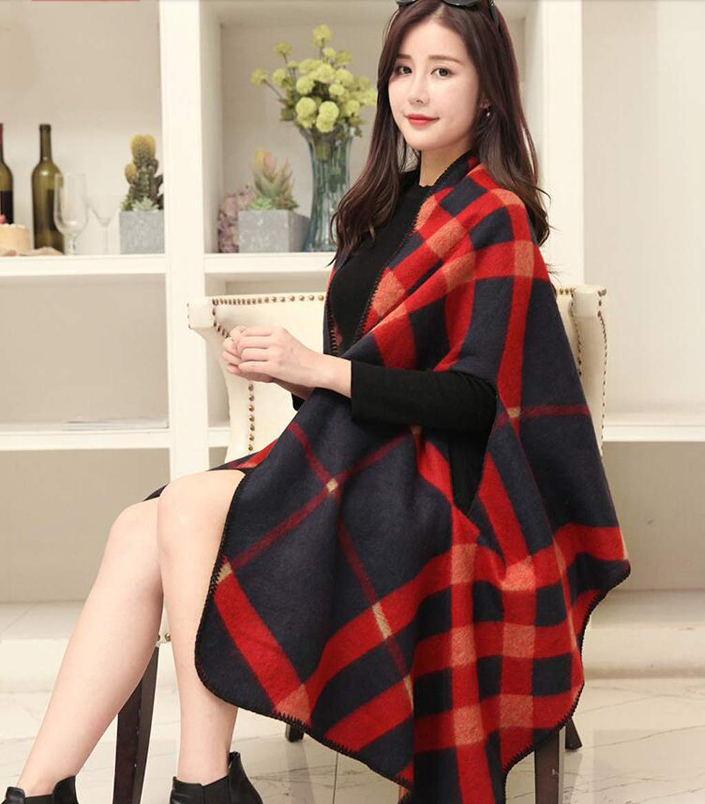 B AchangScarf Shawl Scarf Ladies Dualuse Korean Version of The Wild Winter Large Size Thick Warm Cloak Jacket (color   A)