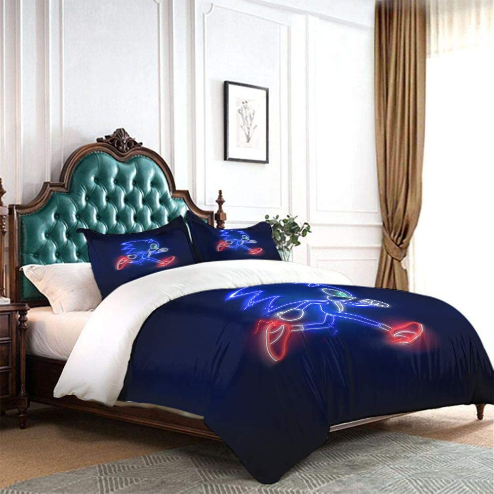 Twin 68x88 inches Comforter Bedding Set 3 Piece Set Sonic The Hedgehog Microfiber Duvet Cover Set Comforter Cover with and 2 Pillow Shams with Zipper Closure Ultra