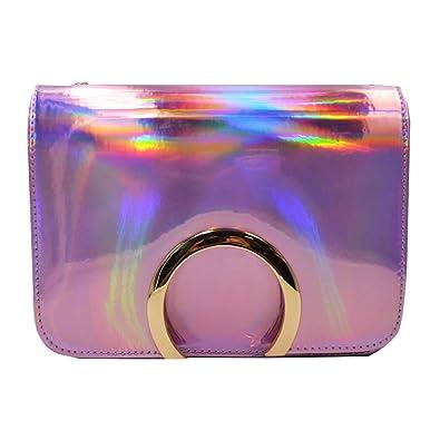 3fa3a77365 Amazon.com  Orfila Hologram Laser Party Handbag Tote Purse Lady Glod Circle Shoulder  Bag Chain Crossbody Bag