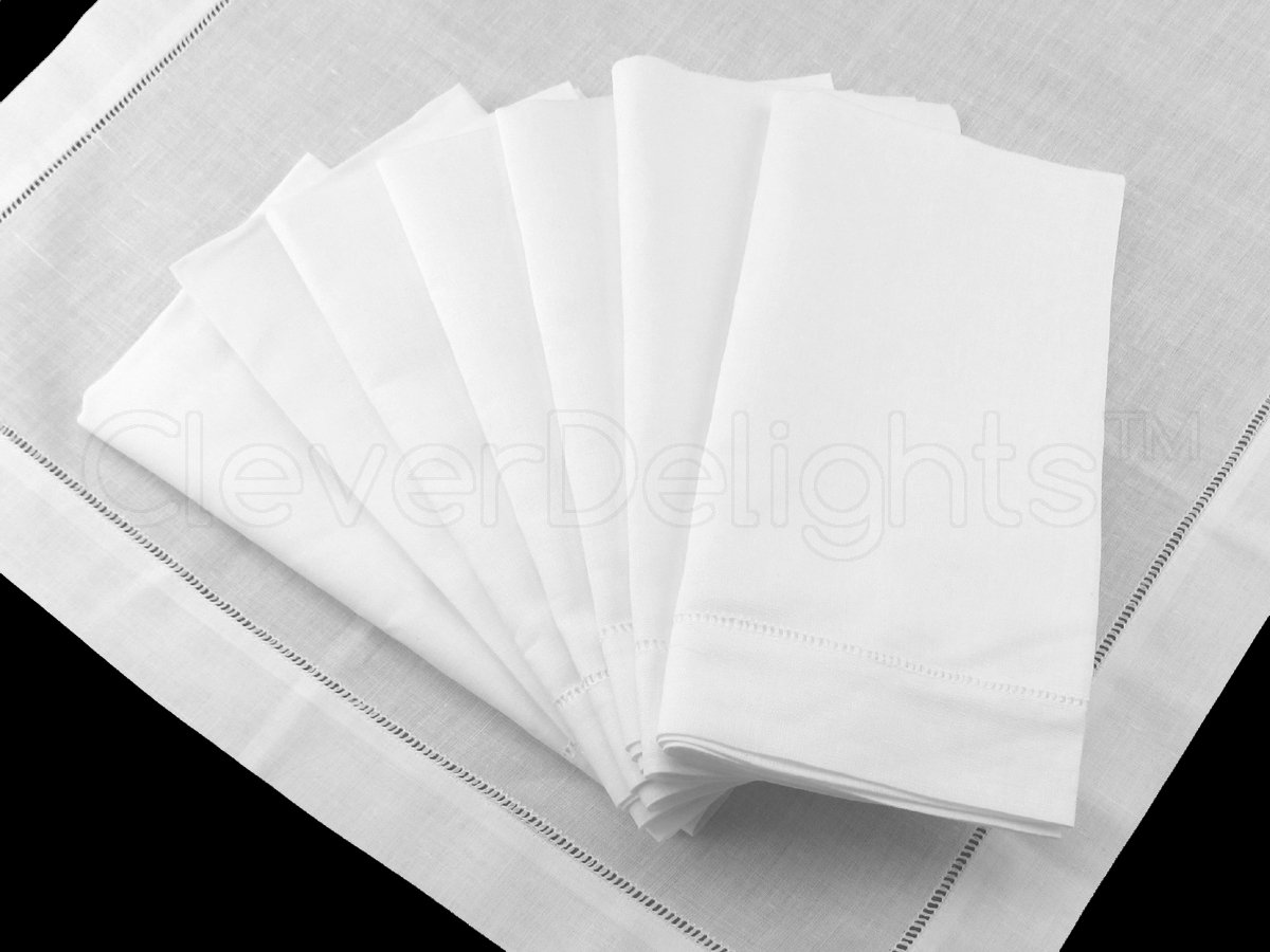 12 CleverDelights White Hemstitch Dinner Napkins - 20'' - 55/45 Linen Cotton Blend - 20'' x 20'' Ladder Hemstitch Cloth Dinner Napkins