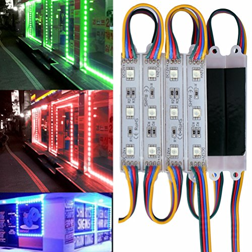 20FT Waterproof Colorful 5050 3 LED Light Module 12V RGB 120 LEDs With Remote Controller Power Plug for Outdoor Led StoreFront Signage Lighting Exterior Sign Light