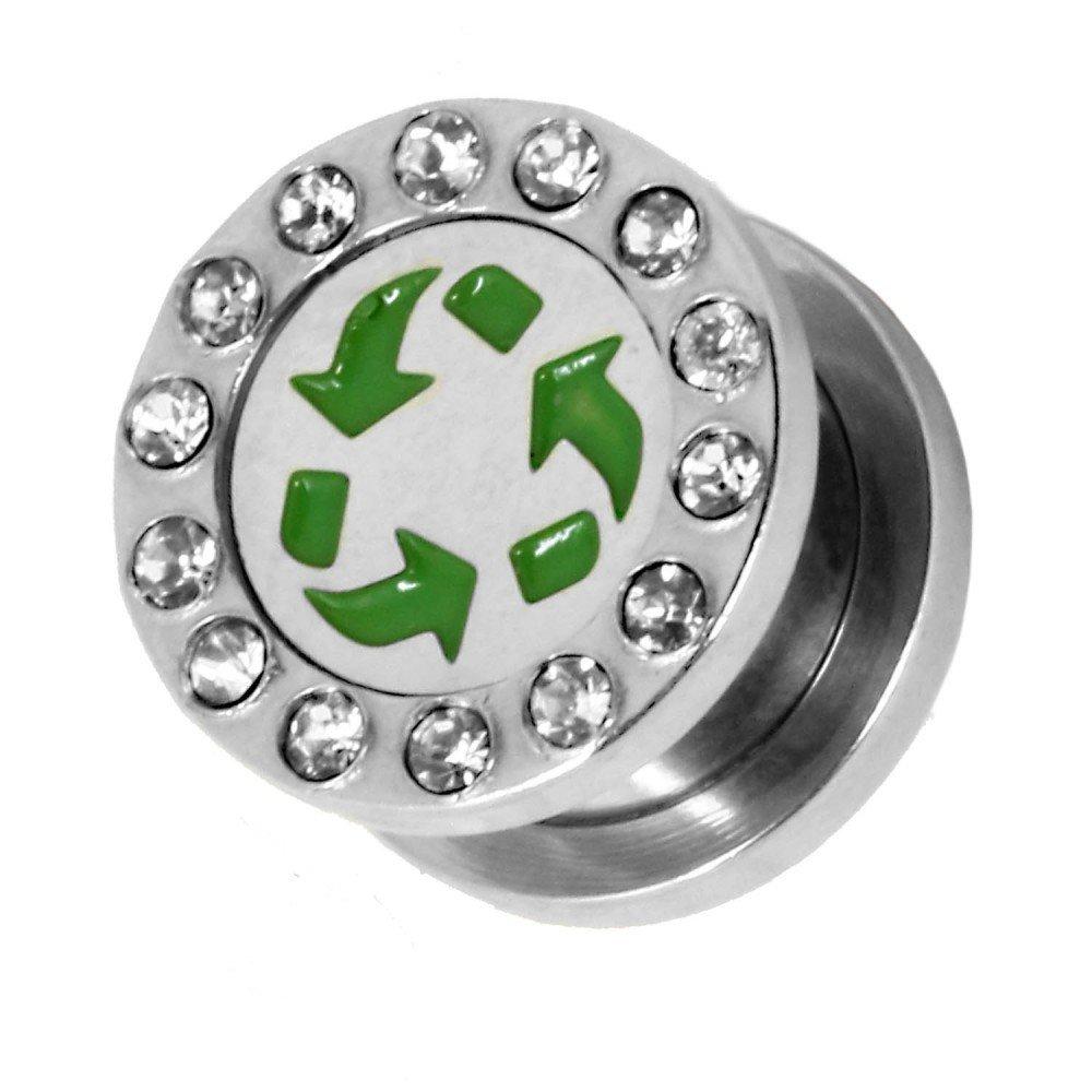 Acero Dilataciones Tunnel Túnel Strass Glitter Piercing Reciclaje Icono Marca Verde Hombre Mujer, Farbe2:Tunnel - 1.2mm: Amazon.es: Joyería